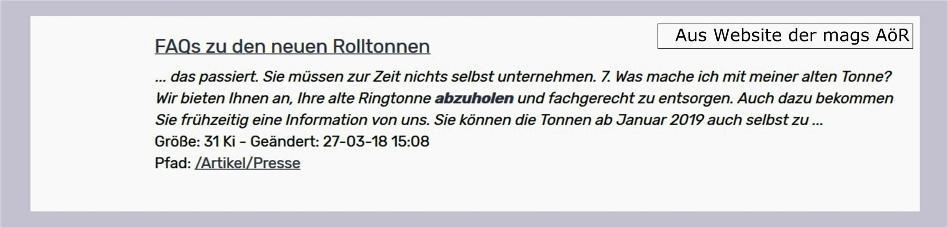 Mags AöR lässt Anfang 2019 Ringtonnen nun doch nicht abholen